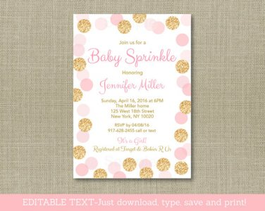 Blush Pink & Gold Baby Sprinkle Printable Baby Shower Invitation Editable PDF #A380