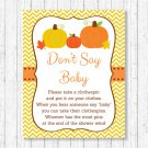 Pumpkin Chevron Gender Neutral Printable Dont Say Baby Baby Shower Game #A400