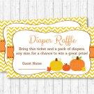 Pumpkin Chevron Gender Neutral Printable Baby Shower Diaper Raffle Tickets #A400