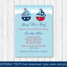 Sailboat Ahoy Its A Boy Printable Baby Shower Invitation Editable PDF #A407