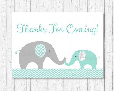 Mint Green & Grey Chevron Elephant Printable Party Favor Thank You Tags #A375