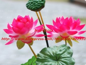 High simulation silk flower floor stand Lotus,4 heads,10 pieces/lot,four colors,free shipping