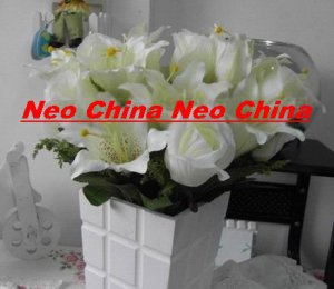 50 PCS,wedding bouquet,High simulation silk flower/artificial flower,6 rose and 6 lily per bunch