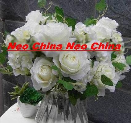 50 PCS,wedding bouquet,High simulation silk flower/artificial flower,6 rose 5 hydrangea per bunch