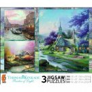 Thomas Kinkade 3 in 1 Multi-Pack-Venice, Stepping Stone Cottage, Clocktower Cottage
