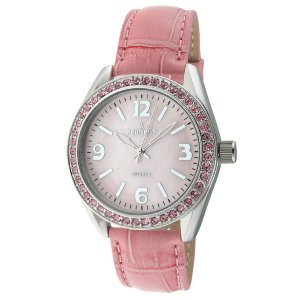 Peugeot Swarovski® Crystal Accented Pink Leather Strap Watch for Women