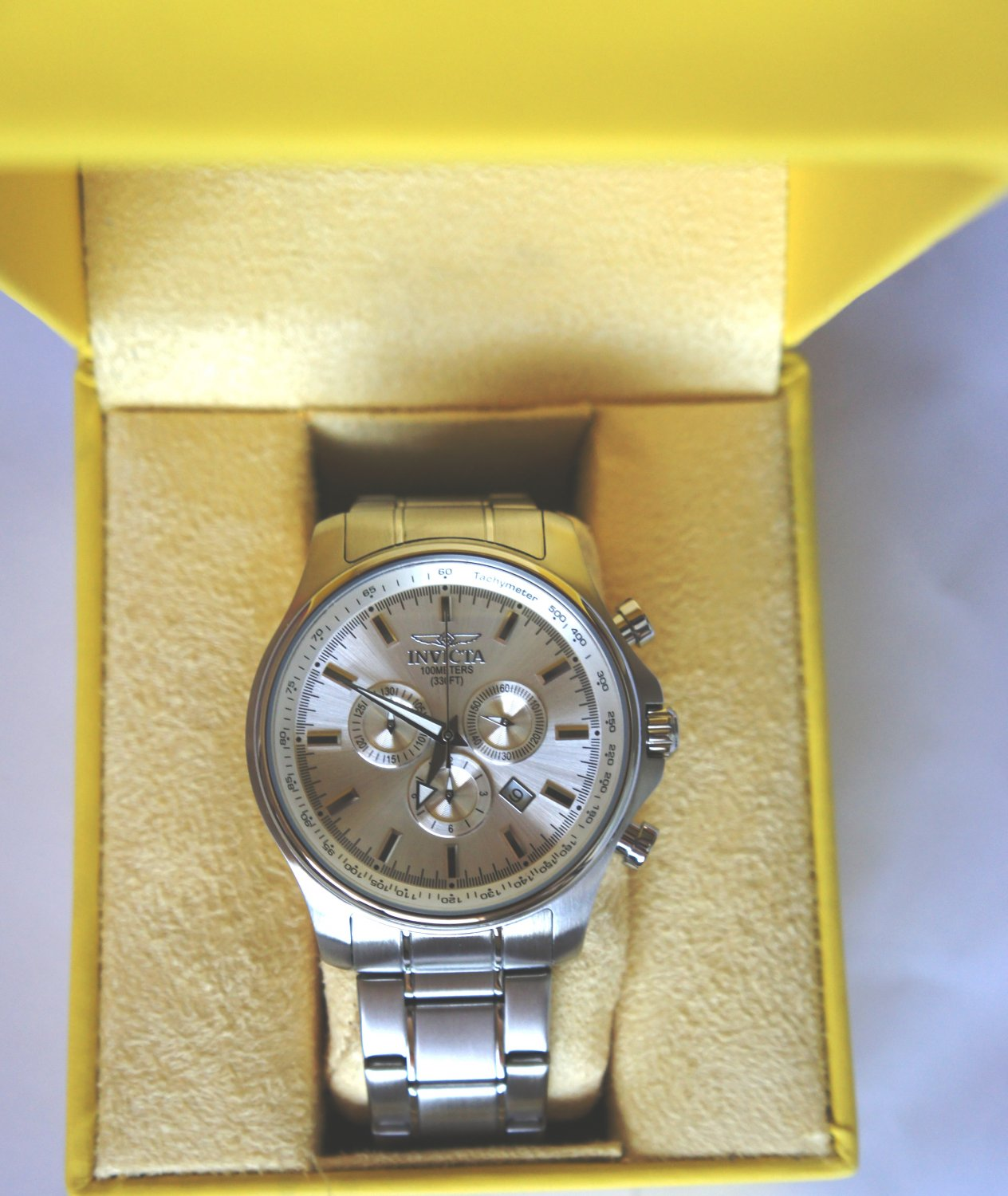 Invicta Stainlees Steel Silver Dial SWISS Watch For Men - Model 1833