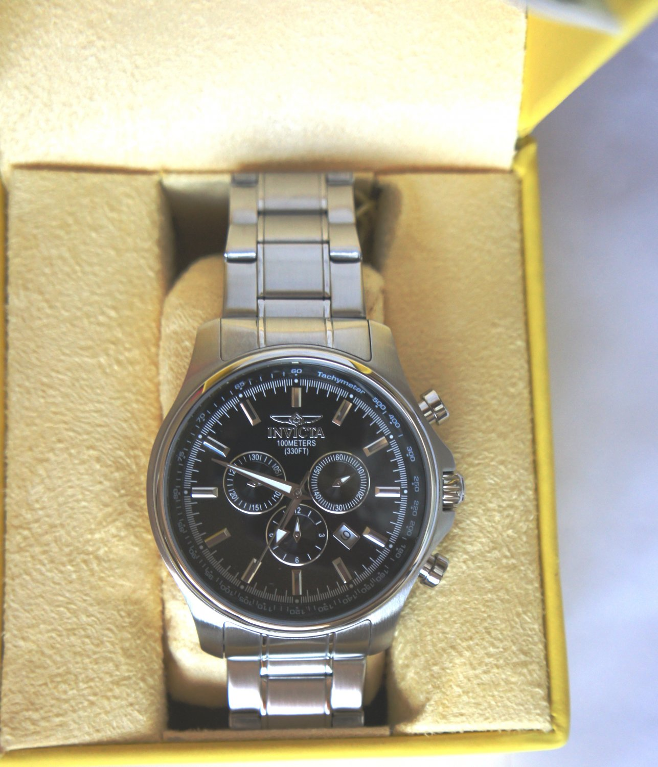 Invicta Stainlees Steel Black Dial SWISS Watch For Men - Model 1835