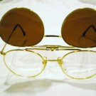 VINTAGE ROBERT LA ROCHE ROUND EYEGLASSES WITH CLIP GOLD