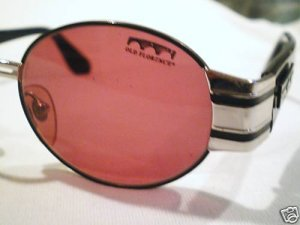 VINTAGE OLD FLORENCE SUNGLASSES BLACK WITH SILVER TRIM