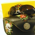 NEW ED HARDY SUNGLASSES EHS 014 BLACK OLD ROSES RIMLESS