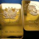 TROY OZ MAPLE LEAF 24K GOLD CLAD ART BAR + BONUS 24K $