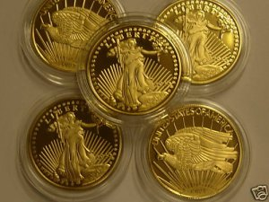 WHOLESALE LOT 10 1933 GOLD SAINT GAUDEN $20 COPY COINS