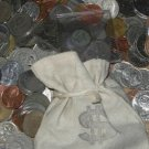 PIRATES LOOT BAG STUFFED W WORLD COINS FROM 7 SEAS