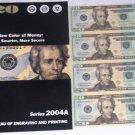 U.S. 2004 $20 FEDERAL RESERVE NOTE UNCUT SHEET + ~BONUS