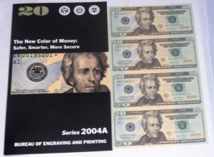 U.S. 2004 $20 FEDERAL RESERVE NOTE UNCUT SHEET + ~BONUS