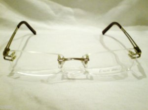 NEW ENRICO COVERI RIMLESS EYEGLASSES SILVER SQUARE SPRING HINGES 50-17-135