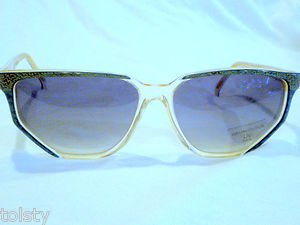 VINTAGE NINA RICCI PARIS SUNGLASSES GREEN GOLD CLEAR HAND MADE IN FRANCE
