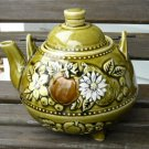 Vintage Avocado Green Teapot Fruit and Flowers