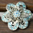 Vintage Blue AB Crystal and Silver Filigree Brooch/Pin