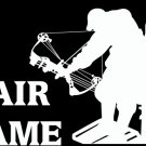 "(HNT1#259) 6"" white vinyl Fair Game deer hunter die cut decal sticker."
