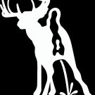 "(HNT1#26) 6"" white vinyl deer pee on peta hunter die cut decal sticker."