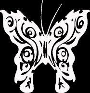 """(BTR 5) 6"""" white vinyl Butterfly die cut window laptop decal sticker."""