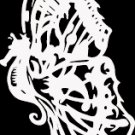 "(BTR 8) 6"" white vinyl Butterfly seahorse die cut window laptop decal sticker."