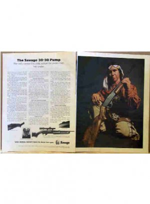 SAVAGE 30-30  WITH INDIAN PORTRAIT AD 1970
