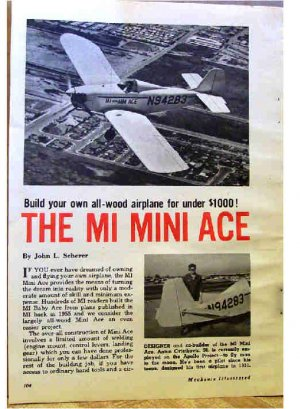 MINI ACE AIROPLANE PLANS 1965