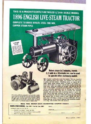 1896 ENGLISH LIVE-STEAM TRACTOR AD 1965