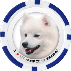 AMERICAN ESKIMO DOG BREED Poker Chips (11.5g) Sold in Packs of 10