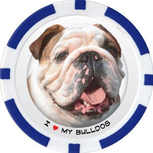 BULLDOG DOG BREED Poker Chips (11.5g) Sold in Packs of 10