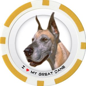 GREAT DANE DOG BREED Poker Chips (11.5g) Sold in Packs of 10
