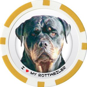 ROTTWEILER DOG BREED Poker Chips (11.5g) Sold in Packs of 10