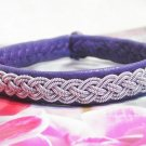 Purple Leather and Pewter Wire Lapland Bracelet