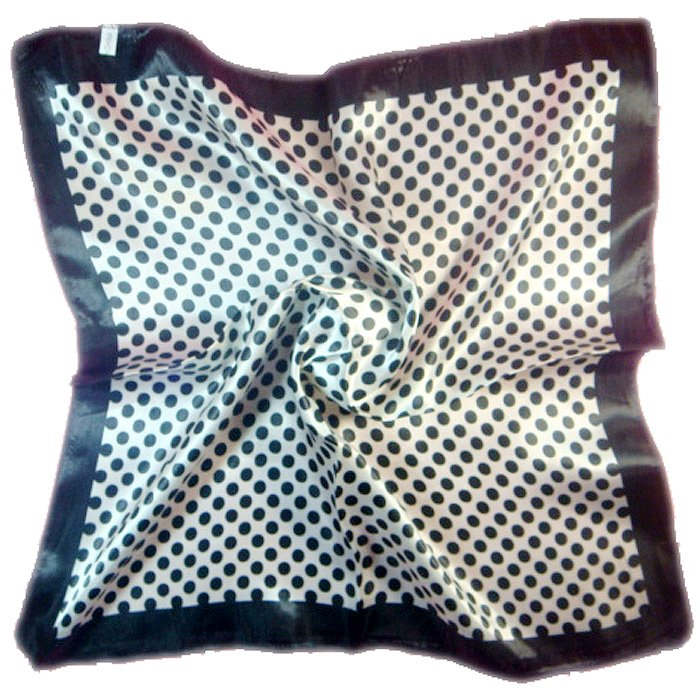 (2S11-SS001-WHT & B LK)  Small scarf/ Small Square Scarf/ Lady small scarf - White & Black Dots