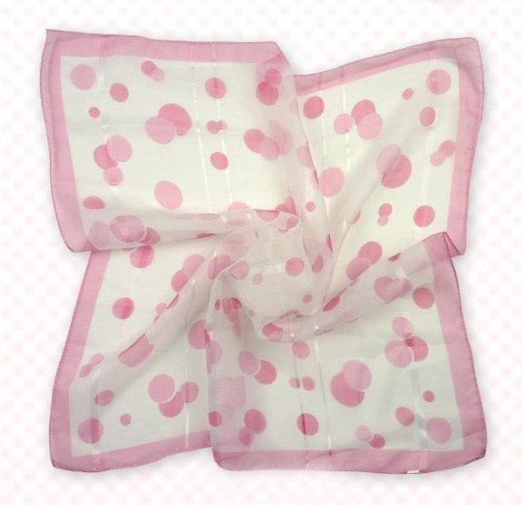 (2S11-SS001-WHT & PNK) Scarf/  Small Square Scarf/ Lady small scarf - White & Pink Pattern