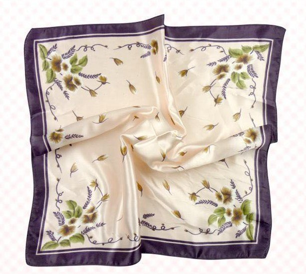 (2S11-SS001-WHT & PUL) Scarf/  Small Square Scarf/ Lady small scarf - White & Purple Pattern