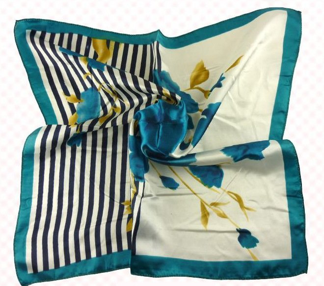 (2S11-SS001-WHT & TQU) Scarf/ Small scarf/ Small Square Scarf/ Lady small scarf - White & Turquoise