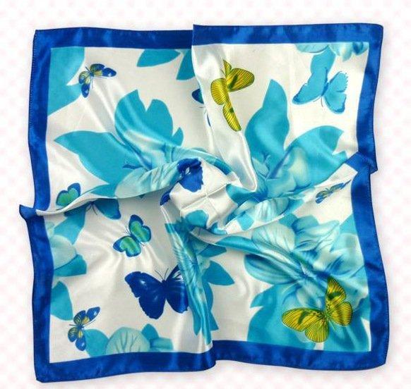 (2S11-SS001 - BLU & LBLU) Scarf/ Small Square Scarf/ Lady small scarf - Blue & Light Blue