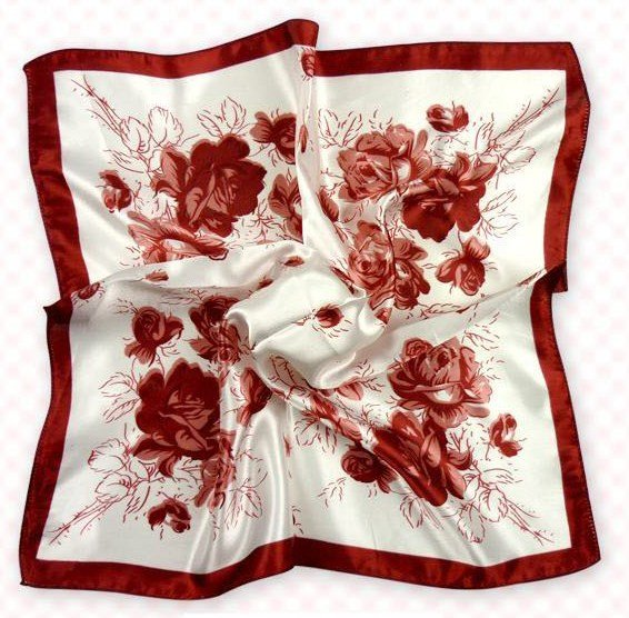 (2S11-SS001 - WHT & BRED) Small Square Scarf/ Lady small scarf - White & Brownish Red