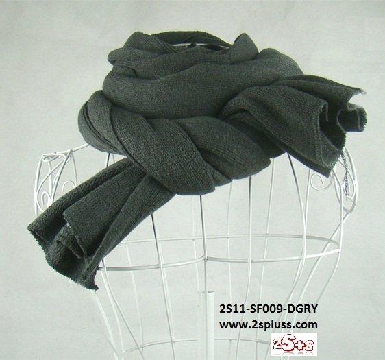 (2S11-FS009-DGRY) Unisex Super Long fashion scarf 200cm*60cm in Dark Gray colour