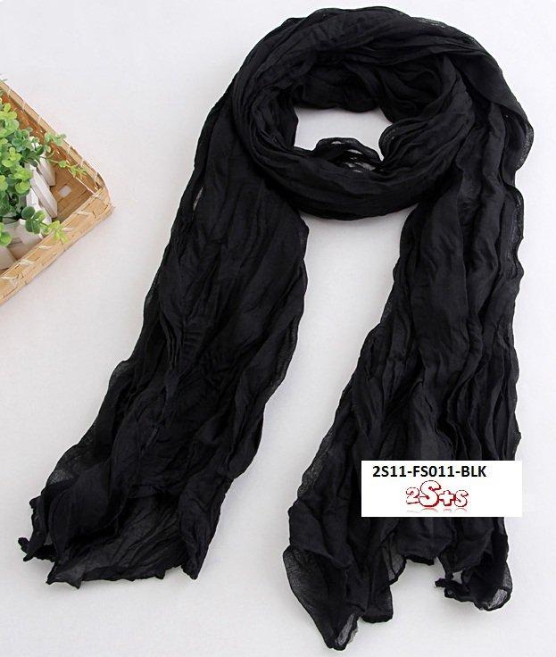 (2S11-FS011-BLK) Lady Long scarf 190cm*110cm in Black colour