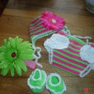 Watermelon Hat, Diaper Cover Headband and Sandals