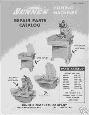 Sunnen Hone Repair Parts Manual For Models MB MBB & MBH
