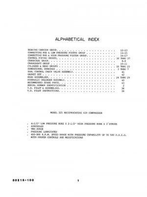 Quincy Model 325 Air Compressor Parts Manual