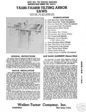 Walker-Turner TA1180-TA1180B Tilting Arbor Saw Manual