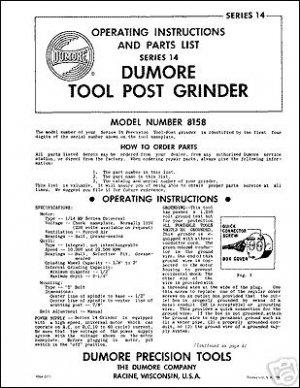Dumore Series 14 Tool Post Grinder Manual Parts & Oper.
