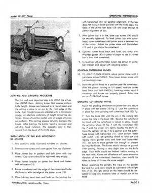 Powermatic Model 221 Planer Instructions & Parts Manual